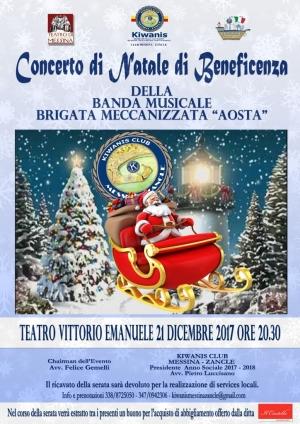 Messina - 19 Dicembre 2017 alle ore 11.30 si terrà presso la Brigata Meccanizzata Aosta la Conferenza stampa di presentazione del Concerto di Natale di Beneficenza della Banda Musicale della Brigata Aosta.