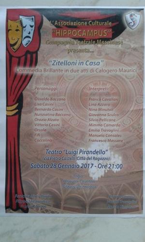 Messina - 28 gennaio Teatro Pirandello una  commedia che sottolinea  il problema dei singles  in famiglia....' Zitelloni in casa'