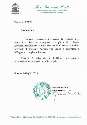 LUNEDÌ 16 LUGLIO, UNA VEGLIA DI PREGHIERA PER S.E. MONS. GIOVANNI MARRA