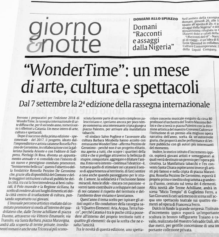 WONDERTIME scalda i motori... un mese di arte, musica e cultura dal 7 settembre con la firma di un comitato internazionale.