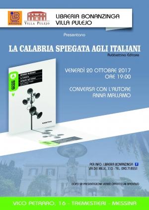 Messina -Villa Pulejo venerdi 20 ottobre ore 19.00 - La Calabria spiegata agli italiani di Mimmo Nunnari.  La giornalista della  Gazzetta del Sud  Anna Mallamo conversa con l 'autore.