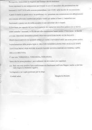 Margherita Benante - una lettera di indignazione inviata al Magnifico Rettore di Messina