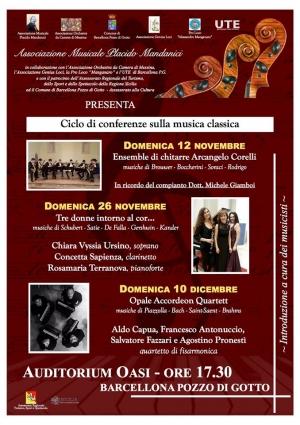 Barcellona Pozzo di Gotto: l'Associazione Musicale Placido Mandanici presenta tre conferenze-concerto sulla musica classica