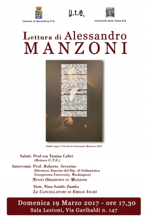 Incontro su Alessandro Manzoni ed Emilio Isgrò all'U.T.E. di Barcellona Pozzo di Gotto