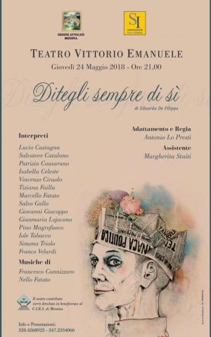 Gli Avvocati di Messina, con la compagnia teatrale Salvis Juribus patrocinata dall'Ordine vanno in scena in favore del CIRS. Il 24 maggio al Teatro Vittorio Emanuele