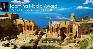 """PREMIO GIORNALISTICO  A TAORMINA  - Sgarbi presidente della giuria della quinta edizione del Premio Internazionale di Giornalismo """"Taormina Media Award Wolfang Goethe""""."""