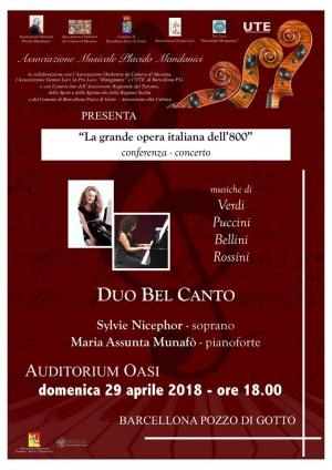 Barcellona Pozzo di Gotto: la grande opera italiana dell'Ottocento con il Duo Bel Canto