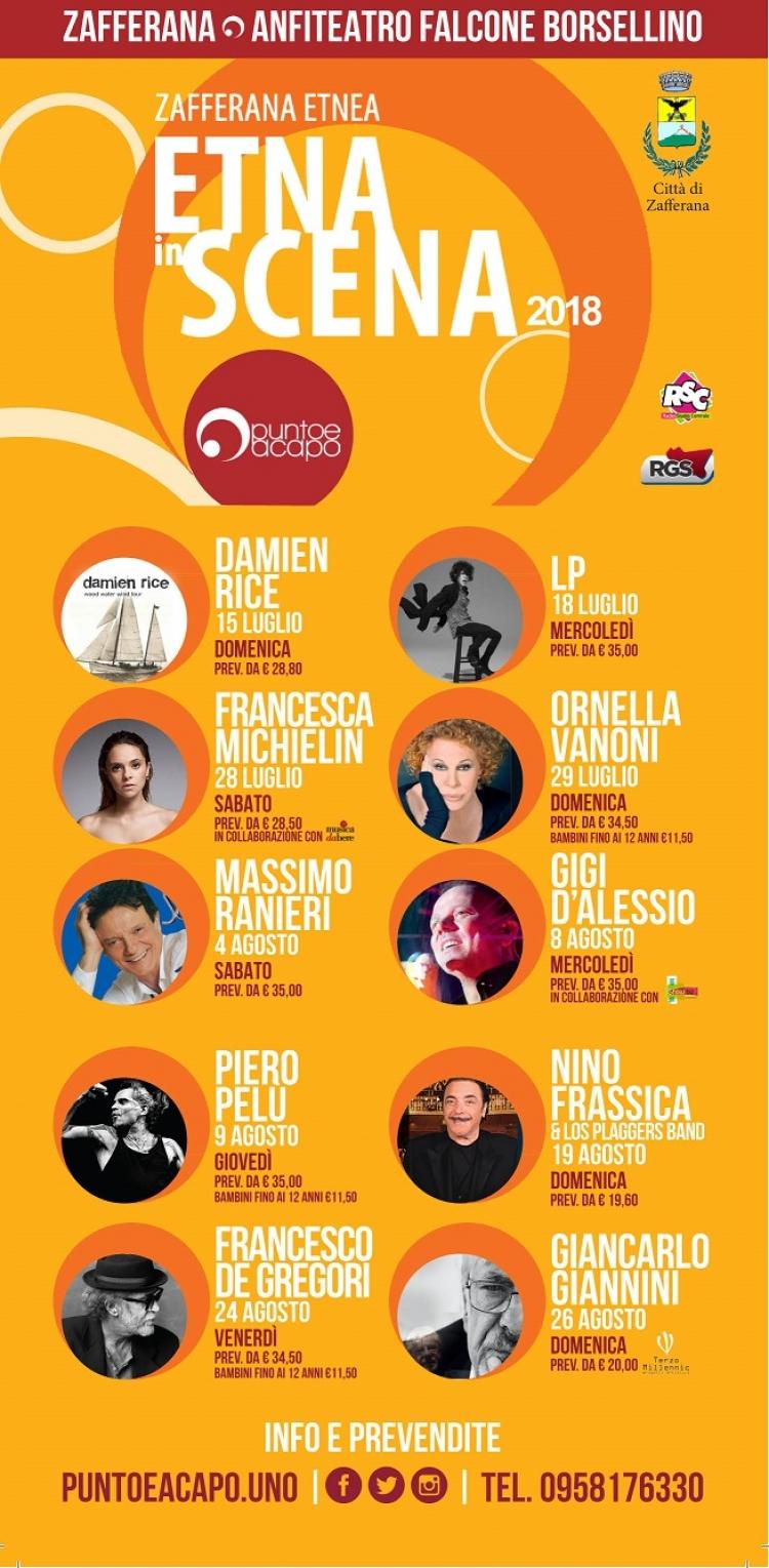 Programma d 'eccellenza di Etna in scena ed al teatro greco romano a Taormina Agosto con Gianna Nannini... Francesco De Gregori...