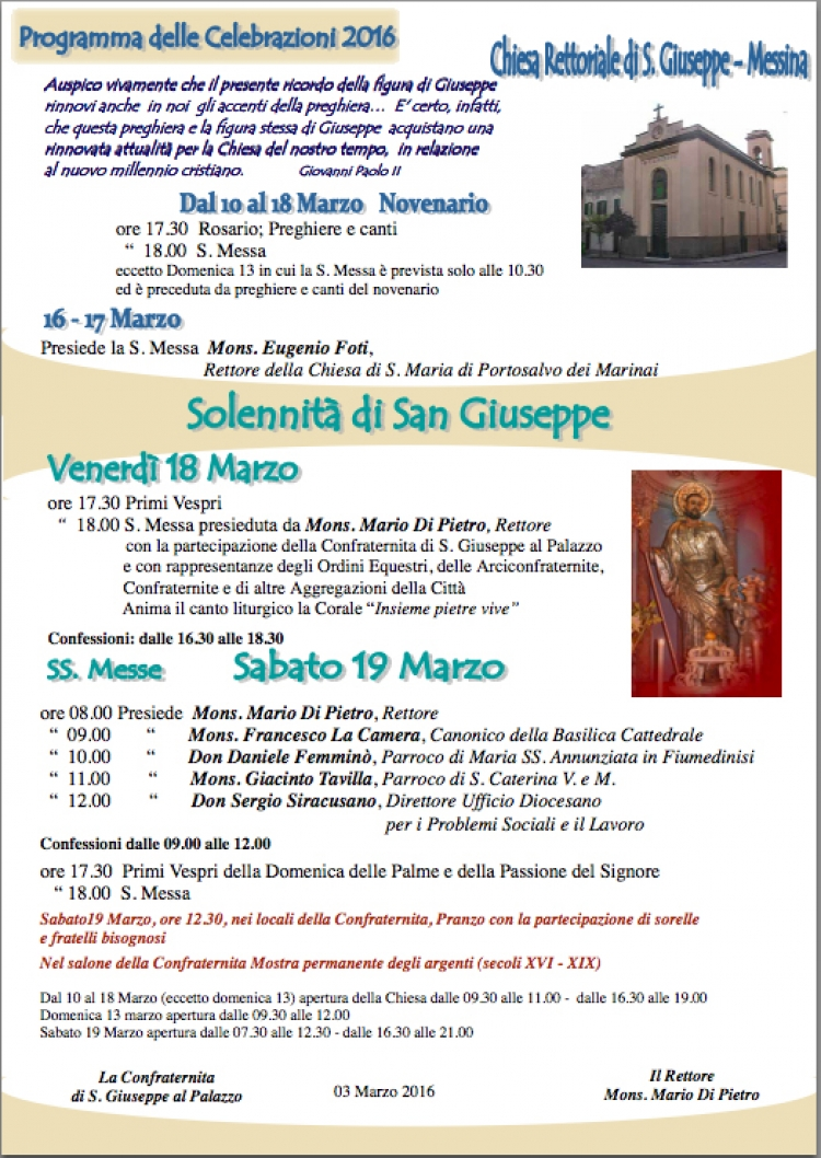 Messina- Solennità San Giuseppe Lavoratore