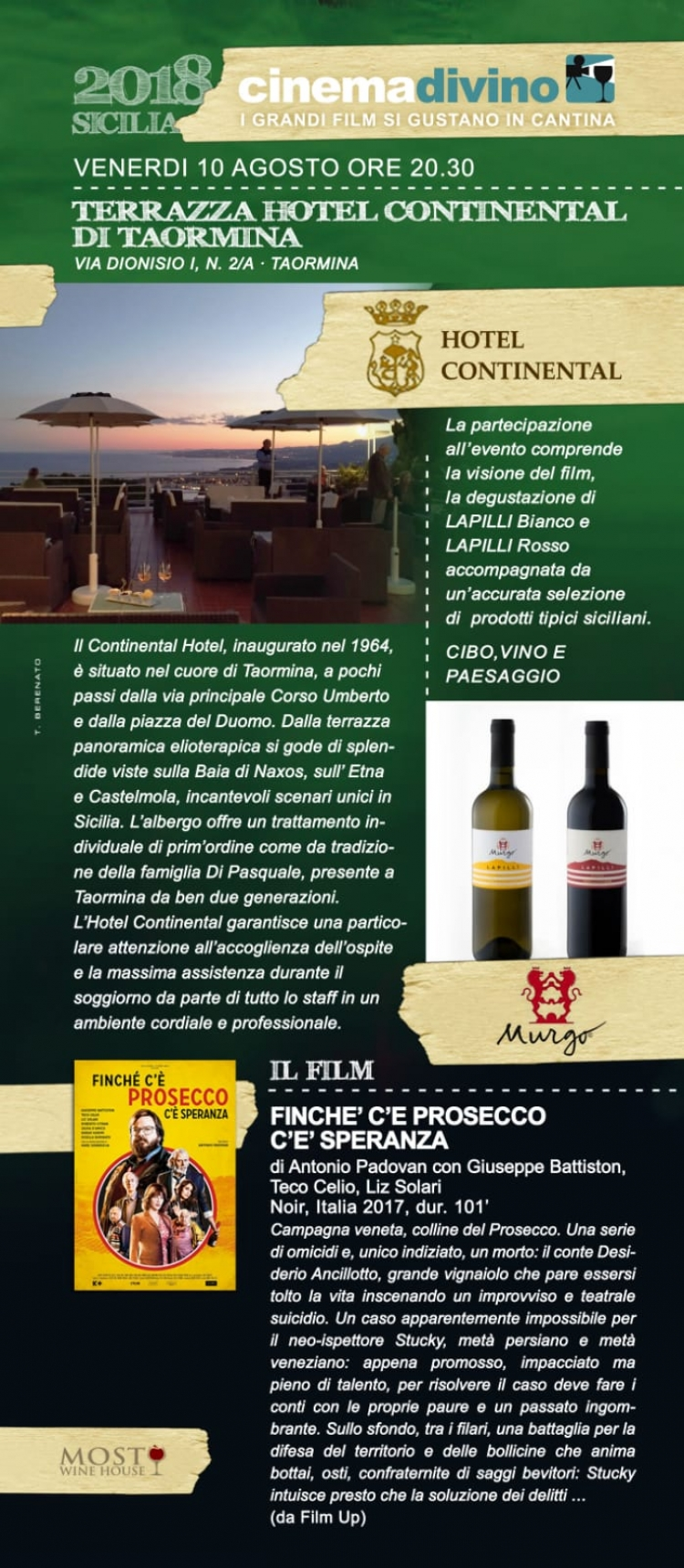 Wine and  food and....film a Taormina con Lillo Sciliberto  all Hotel Continental il 10 agosto ore 19.30