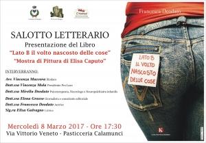 """Sinagra:  Salotto letterario presentazione del libro """"lato B il volto nascosto delle cose"""" e """"mostra di pittura di Elisa Caputo"""