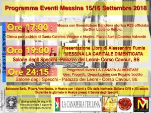 Programma eventi Messina 15/16 Settembre 2018