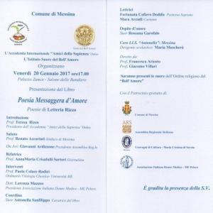 """Messina - Venerdì 20 gennaio 2017 presentazione del libro """"Poesia Messaggera d'Amore"""""""