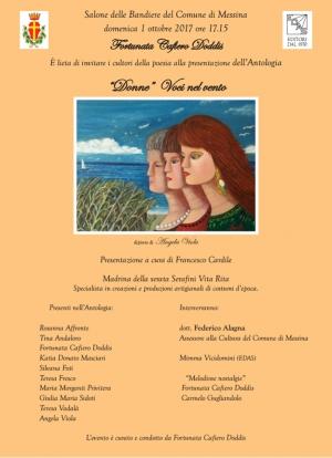 """Domenica 1 ottobre alle ore 17.15 , Salone delle Bandiere del Comune di Messina presentazione dell'antologia """"Donne"""" Voci nel vento."""