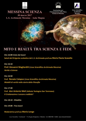 """Messina -  Liceo """"Archimede""""  - Convegno  Mito e realtà tra Scienza e Fede"""