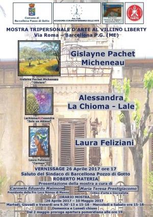 Il Mediterraneo di Gyslaine Pachet Micheneau visto da altri punti di vista : dalle pittrici  Laura Feliziani e da Allessandra La Chioma- Lale al Villino Liberty di Barcellona