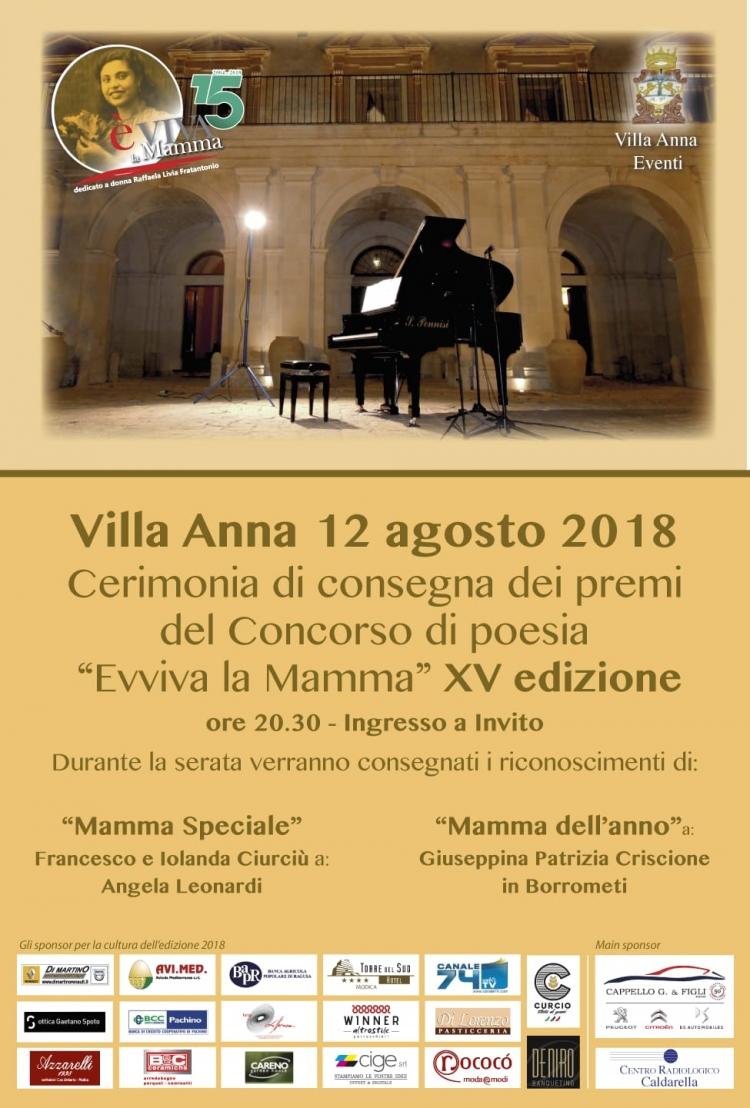 Premiazione il 12 agosto  a Villa Anna del concorso di poesia E'-vViva la mamma ideato  ed organizzato da Giorgio Fratantonio in memoria della madre. Presenta Patrizia Tirendi