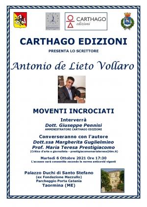 Antonino de Lieto Vollaro 6 ottobre Taormina h 17:30 per Carthago Edizioni
