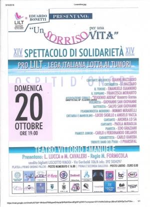Solidarietà e spettacolo 20 ottobre Teatro Vittorio Emanuele Messina