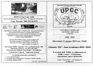 L'Universita' Popolare Giuseppe Cristaldi  ad Acireale giorno 12 giugno ore 18.00 - Un programma straordinario