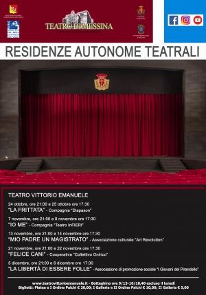 Teatro di Messina:la cultura non si ferma  Dal 24 ottobre si riparte alla grande Con 200 posti