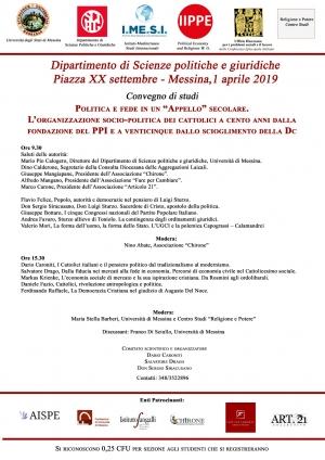 Convegno di studi politologi a Messina oggi 1 aprile