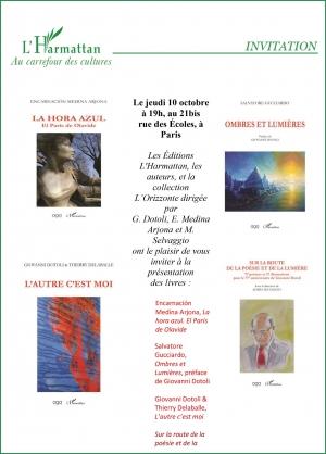 Giovanni Dotoli firma il suo libro nella Galleria di Parigi L'Harmattan. Sede della mostra la  prestigiosa galleria di Patigi, punto di riferimento dell' Accademia euromediterranea delle arti