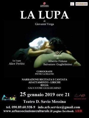 Messina - La lupa di Verga al Savio oggi 25 gennaio ore 21
