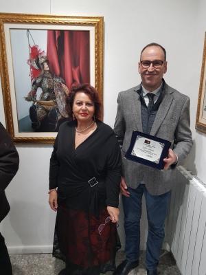 Salvo Priolo premiato a Roma per la pittura dal critico Maria Teresa Prestigiacomo