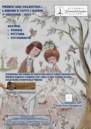 Vincitori del Premio San Valentino 2021 Prima Edizione Accademia Euromediterranea delle Arti, Poesia Pittura Fotografia
