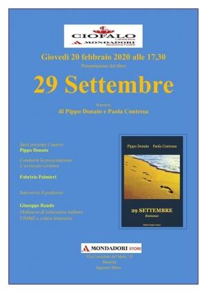 """Presentato a Messina presso la Libreria Ciofalo - Mondadori bookstore il volume """"29 Settembre"""""""