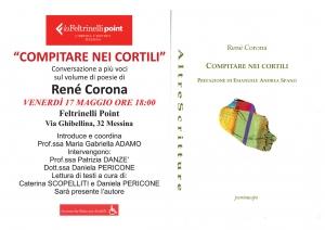 Messina - Introduce e coordina la poetessa docente Maria Gabriella Adamo  per la presentazione del libro di poesie di Rene' Corona  17 maggio Feltrinelli point