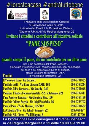 """Barcellona Pozzo di Gotto: le iniziative pubbliche e private di solidarietà per l'emergenza Coronavirus. Il Network delle Associazioni culturali lancia l'iniziativa del """"pane sospeso"""""""