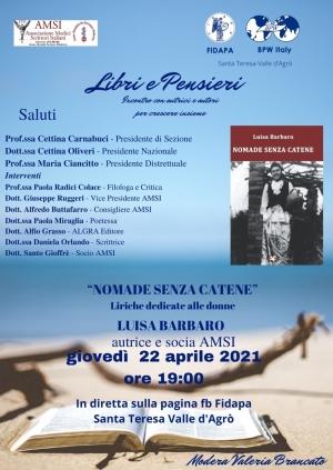 In Diretta Facebook  sfida la pandemia NOMADE SENZA CATENE della brillante scrittrice  Luisa Barbaro