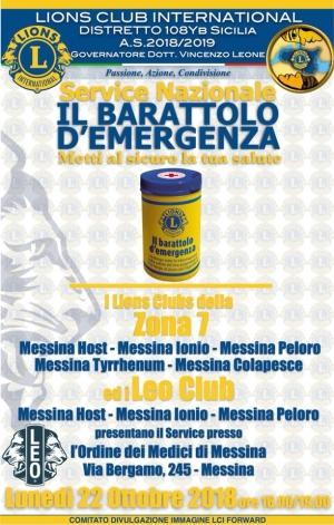 """Sbarca a Messina """"Il barattolo d'emergenza"""", un progetto promosso dal Lions Club Distretto Sicilia 108 YB zona 7, per facilitare gli interventi di primo soccorso su anziani e disabili che vivono soli."""