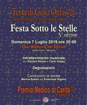 Charity all' Oasi Madonna del sorriso 7 luglio  ore 20.30 festa sotto le stelle