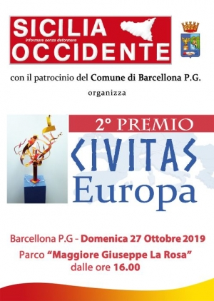 Barcellona Pozzo di Gotto: il 27 ottobre la seconda edizione del Premio Civitas Europa organizzato da Sicilia Occidente